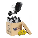 Kit-5-Cameras-Falsas-Com-Led-Bivolt-_-5-Placas-Sorria
